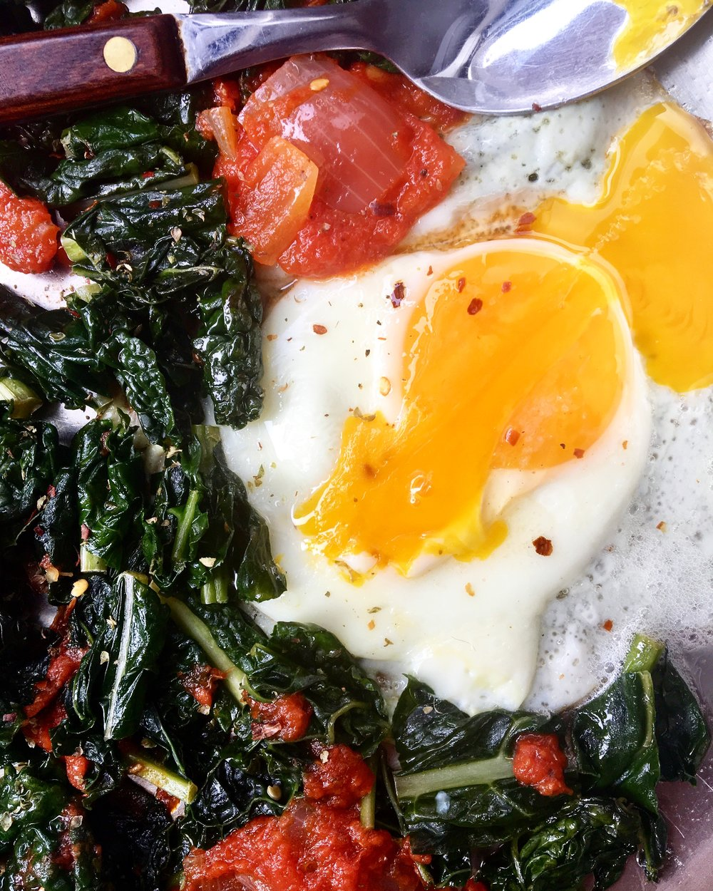 Kale / Sauce / Eggs: $1.68 for breakfast at home