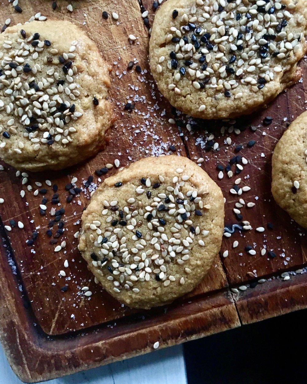 Flourless Peanut Butter + Tahini Cookies