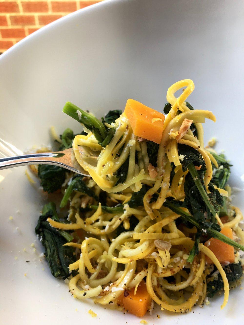 Zucchini Noodle / Butternut / Brooclirabe / Marcona Almond + Lemon / EVOO / Pecorino