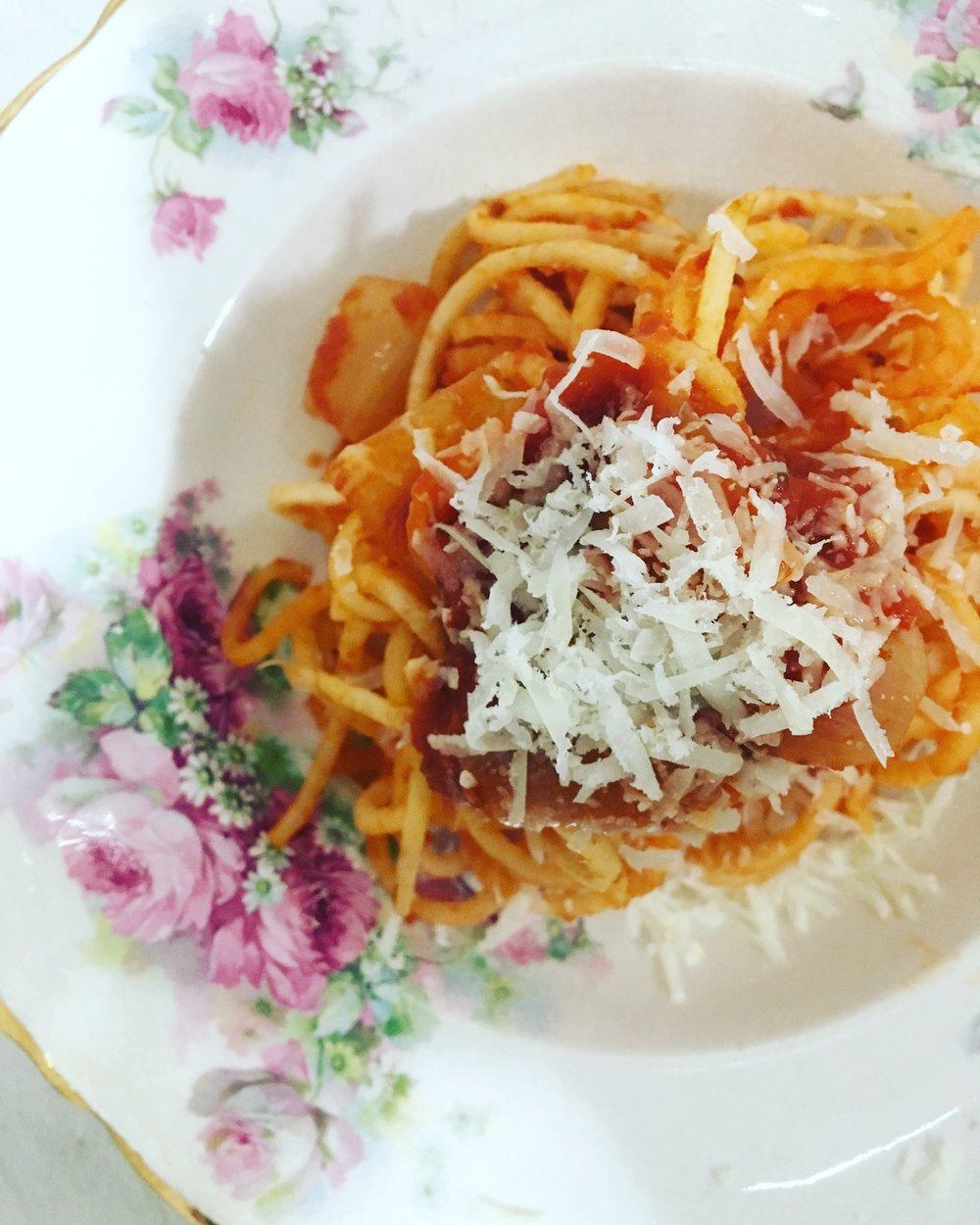 Late Night Dinner Diaries: Turnip Noodles / Red Sauce / Pecorino