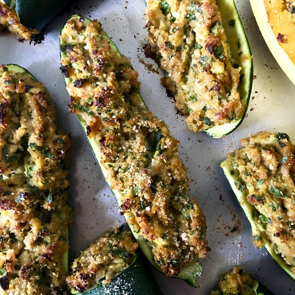 Stuffed Zucchini with Chicken Sausage + Greens