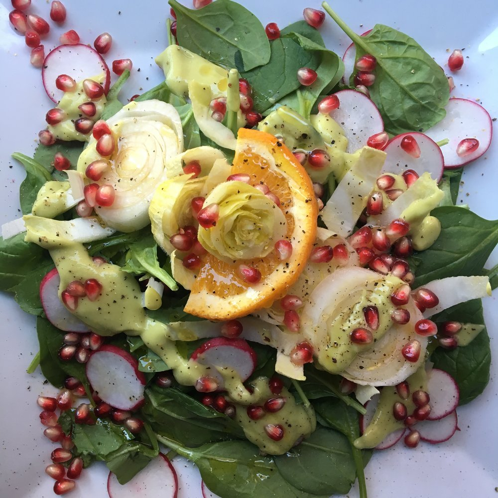 Spinach + Endive Salad with Avocado Citrus Dressing
