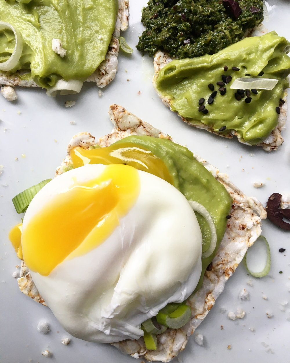 Miso Guac Toasts with Poached Egg