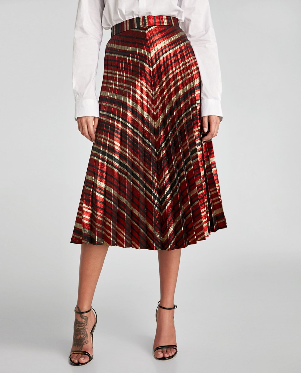 ZARA PLEATED STRIPED SKIRT   - $49.90 CAN