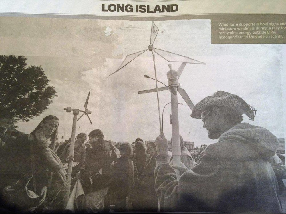 Joseph at a local rally to support wind farms.