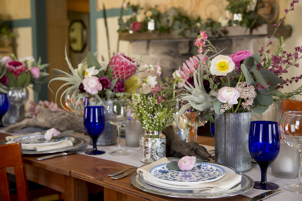 Romantic spring reception for a beach wedding at Crema in Pacific Grove, CA. Photo by Carol Oliva Photography.