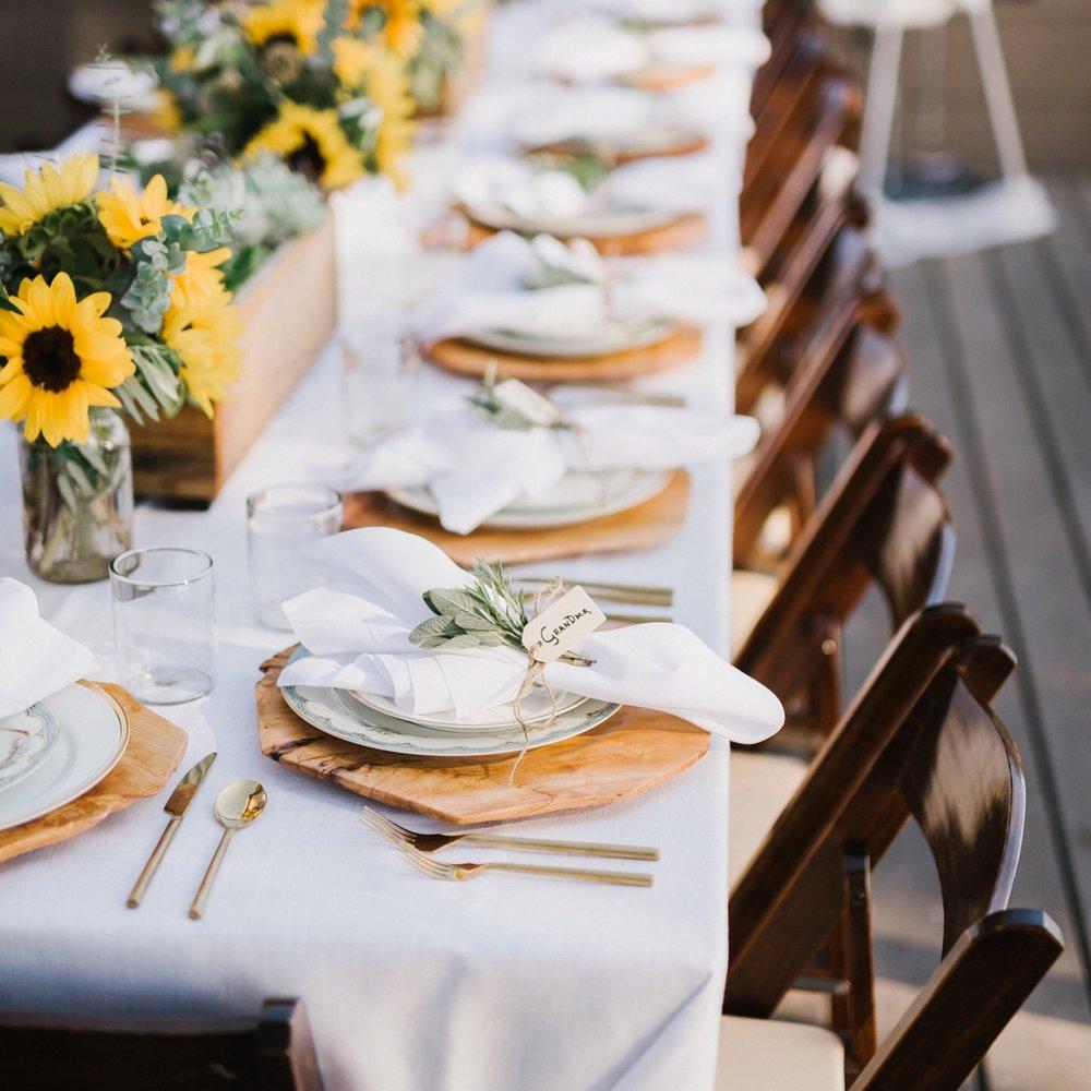 Sunflower wedding reception at Wind and Sea Estates in Big Sur, CA.