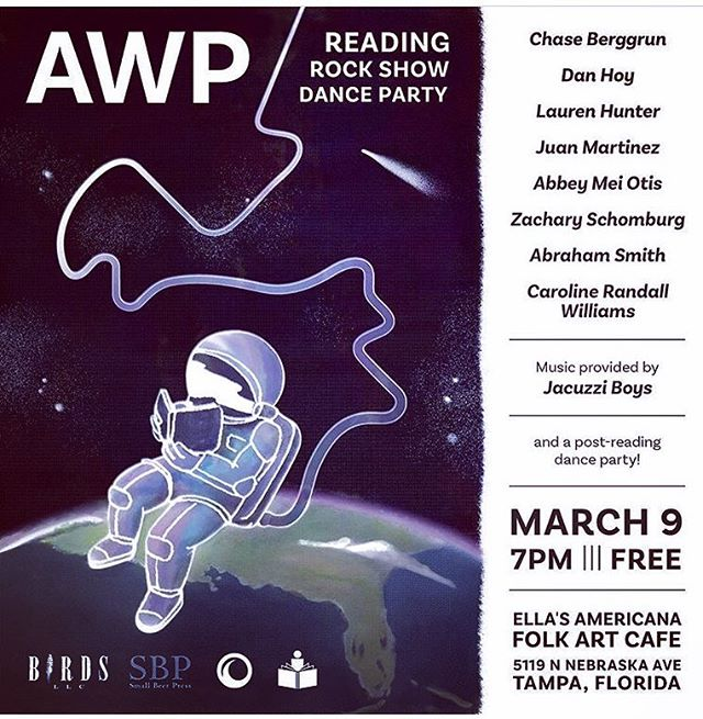 So excited to be reading tonight with this amazing group! Thank you @thirdmanbooks for making this happen! Friends in Tampa come out if you can! #AWP #lucynegroredux #poetry #books