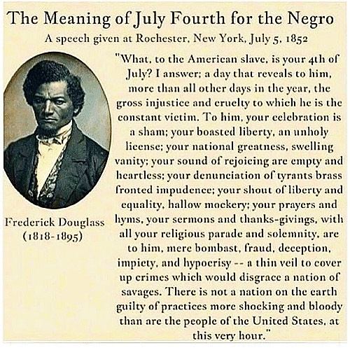 A solemn meditation. His concerns still ring true. Using this day to remind myself that we've got work and more work to do. #fourthofjuly #frederickdouglass #blacklivesmatter #immigrantswelcome