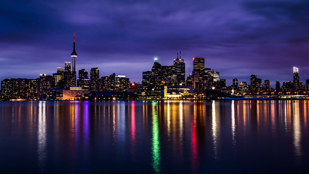 Cityscape: The colorful Skyline of Toronto.