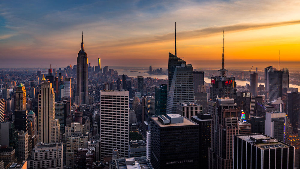 Top of the Rock: Sunset over downtown Manhattan.