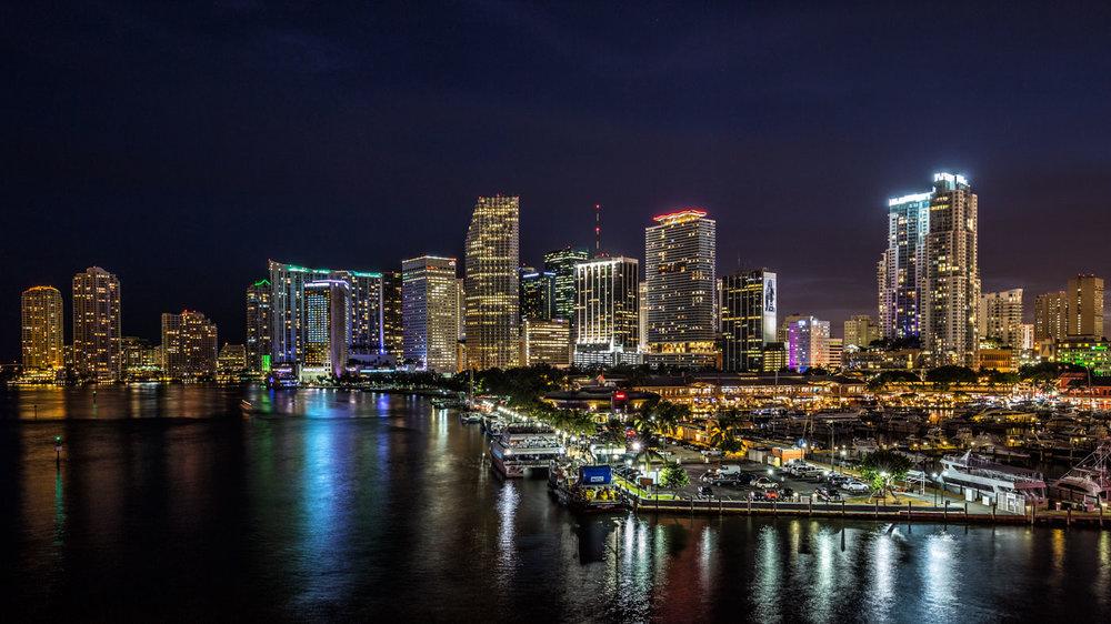 Illuminated Skyline: Downtown Miami at Night.