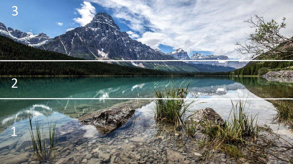 Creating Depth: Waterfowl Lake in Canada.