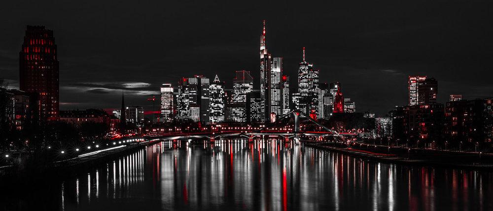 Cityscape: Frankfurt Skyline - Abstract Sin City Look