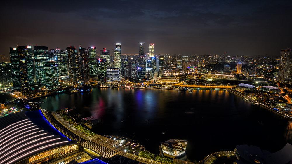 Downtown Panorama: On top of Marina Bay Sands.