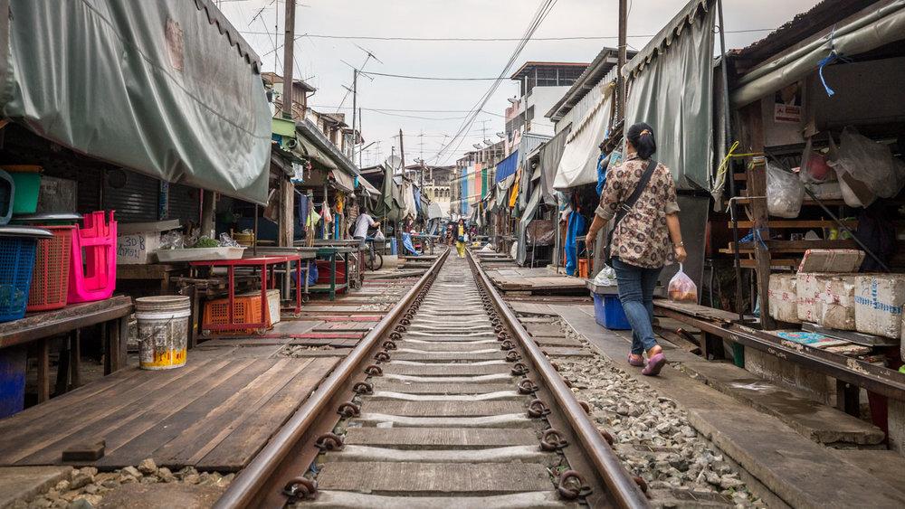 Maeklong Railway Market next to Bangkok