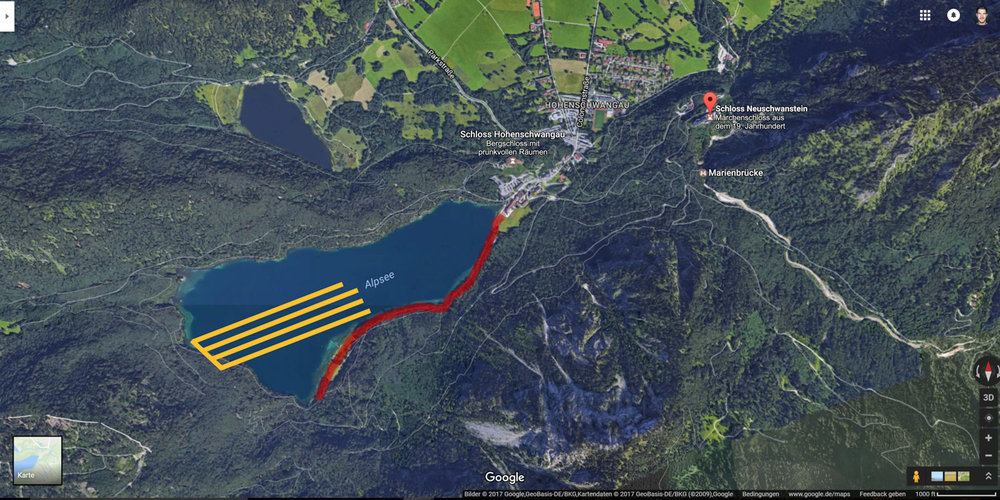 Google Maps offered me a closer look at the lake. The Alpsee is surrounded by a path (red) from which I could shoot straight into the sunlight (yellow).