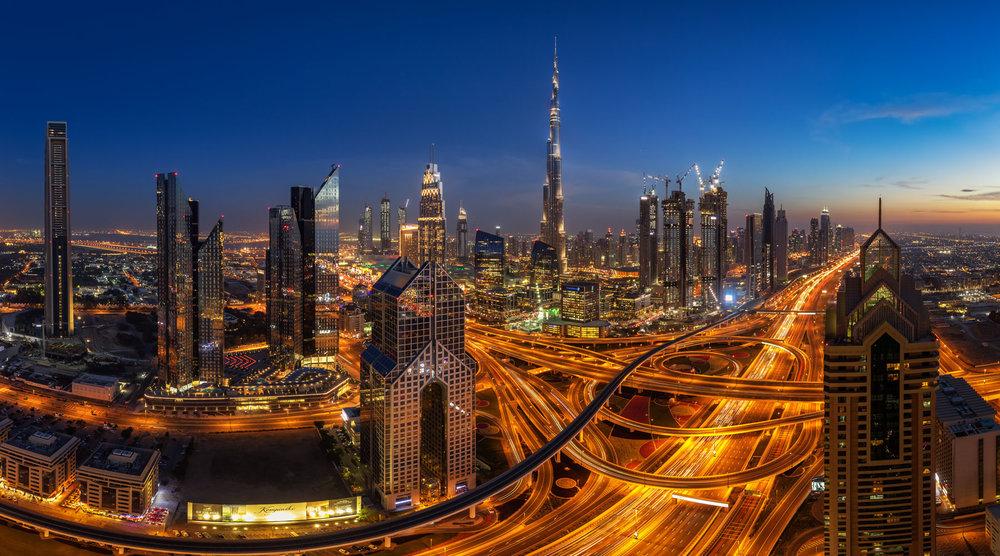 Dubai - Sunset - UAE - Blue Hour - City - Architecture - Skyline - Burj Khalifa - Panorama - Street - Lights - Urban - Desert - Sky - Skyscraper - Travel Photography.jpg