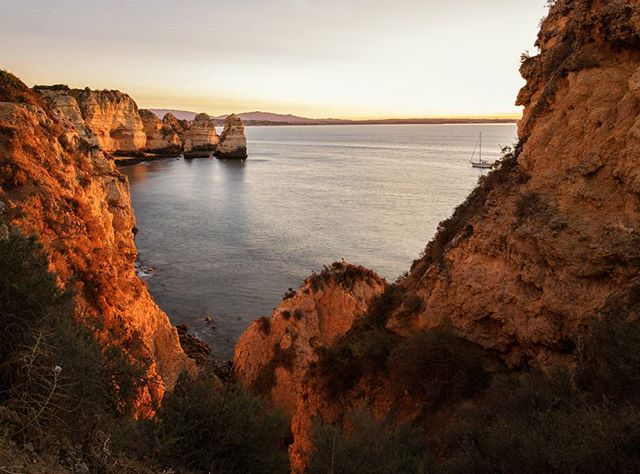 Glowing Coast. 🌅📷 #algarve #lagos #portugal #goldenhour  #pontedapiedade #sunrise #roadtrip #naturalframe #morningmood #travelphotography #nofilter #photographerlife #abroad #notourists #coastline #natgeoyourshot #fstoppers #viewbugfeature #orange #wanderlust #explore #create #discover #visitportugal