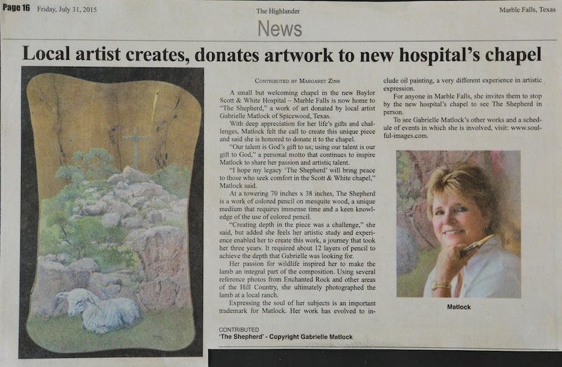 Gabrielle Matlock, wildlife artist, donates to charity.