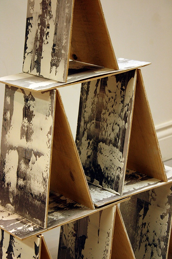 "Pearls , Plaster and Photo-transfer on Panels, 7.5"" x 10.5"", Jaspal Birdi, 2015-16"