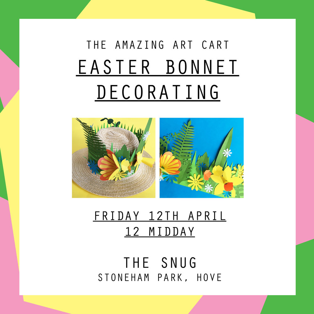 Join the Amazing Art Cart for a paper crafting Easter Bonnet decorating workshop and create your very own spring time masterpiece.  Workshops are aimed at children aged 5 - 12. Children 8 and under must be accompanied by an adult for the duration of the workshop, children 9 and over may be left but parents have to stay within the cafe building.