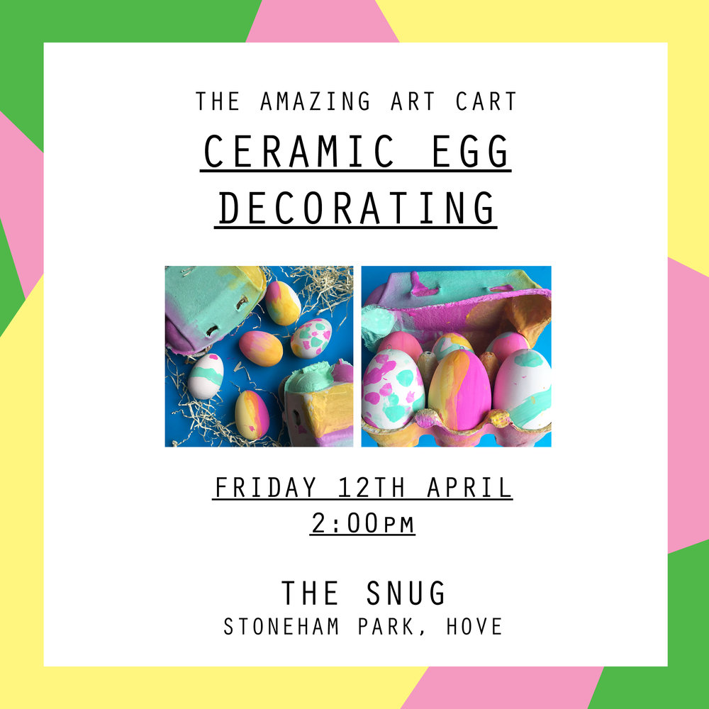 Join the Amazing Art Cart for a ceramic easter egg painting workshop and create your very own box of colourful easter decorations.  Workshops are aimed at children aged 5 - 12. Children 8 and under must be accompanied by an adult for the duration of the workshop, children 9 and over may be left but parents have to stay within the cafe building.