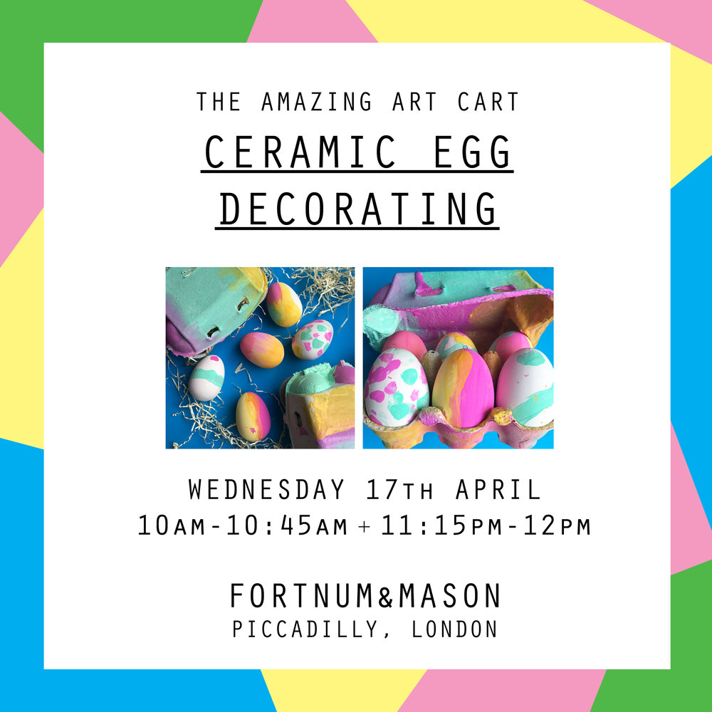 This Easter holiday, children aged 5-12 are invited to Fortnum's where The Amazing Art Cart will teach young Fortnum's visitors how to decorate ceramic eggs, just in time for the Easter celebrations.  Places are limited to 16 per class, and participating children must be aged 5+. Children up to the age of 8 must be accompanied by an adult, while children aged 9 and over may be left unattended, but parents must remain in store while the workshop is running.