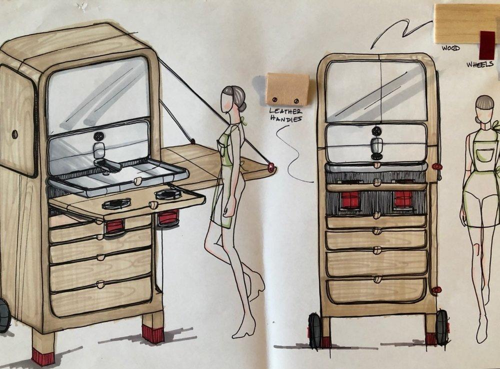 Detail sketch: Pop-up kitchen
