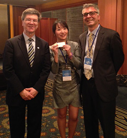 L-R: Jeffrey Sachs, Director of the Earth Institute at Columbia University; TC alumna Raina Sim; and William Gaudelli, Chair of the Department of Arts and Humanities and Associate Professor of Social Studies and Education