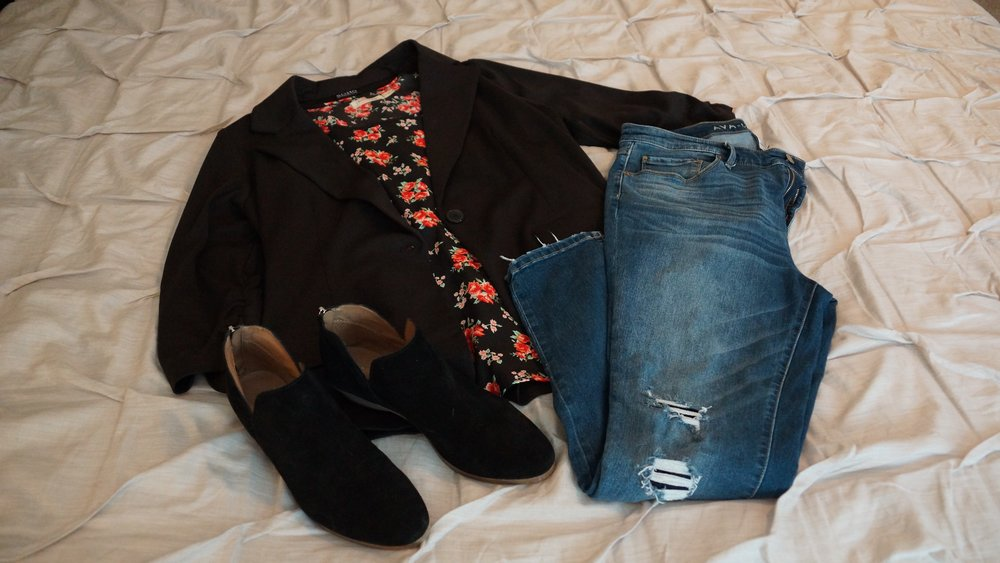 "Cute 3/4"" sleeve blazer (Ross) with roses tank (Wal-Mart), distressed jeans (Target), and my favorite Kenneth Cole booties this season (Nordstrom Rack)."