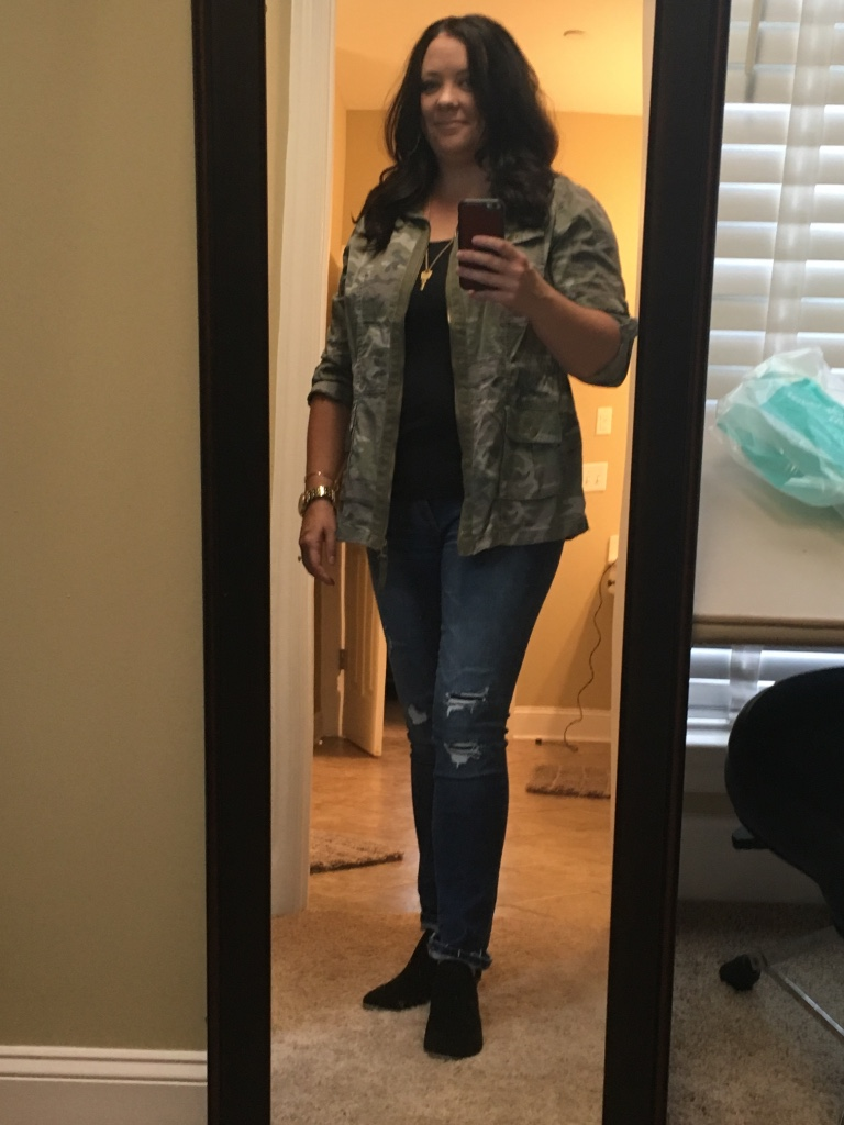 I couldn't not show you my camo jacket!  I love this and want to wear it daily.  On another note, you might be married to a musician is there's a drum throne in your closet and it's been there for a month and you're not totally sure why....