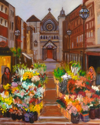 Church and Flower Market, Grafton Street, Dublin