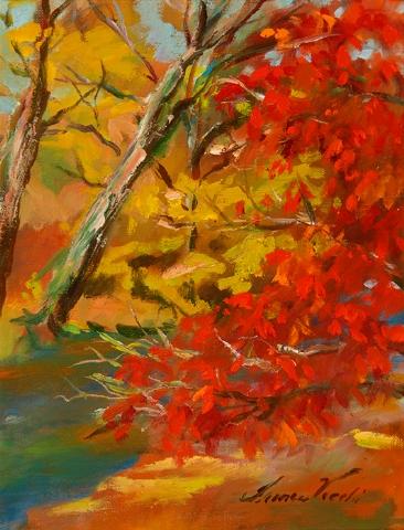 "Mountain Stream, oil on canvas, 9""x12"""