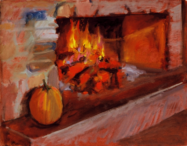 Fireplace and Pumpkin