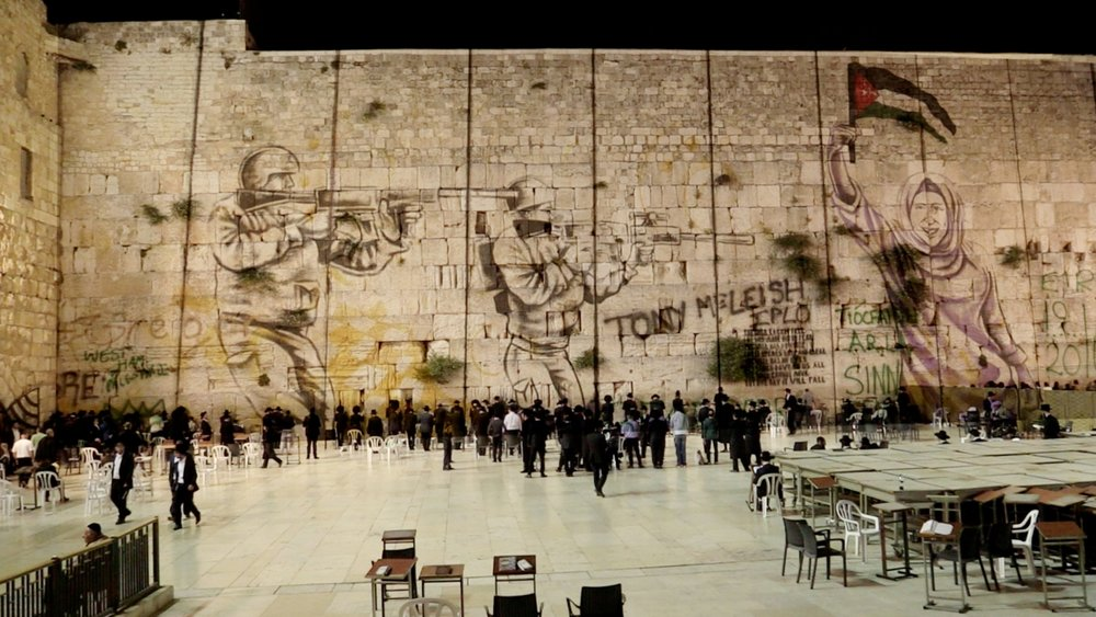 (Composite image of western wall superimposed with graffiti from the security partition constructed by israeli government on palestinian territory - a symbol of the contextual complexity of an issue  rarely covered in depth by western news media.)