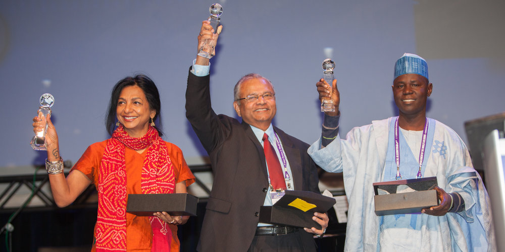 Soraya Deen (L), Shanta Premawardhana (C) and Abare Kallah (R) after receiving the Paul Carus award.
