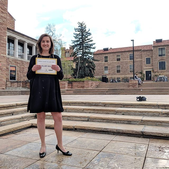 Teaching is the best job I've ever had. I'm beyond thankful to have received the only graduate teaching award #cuboulder offers. 😭