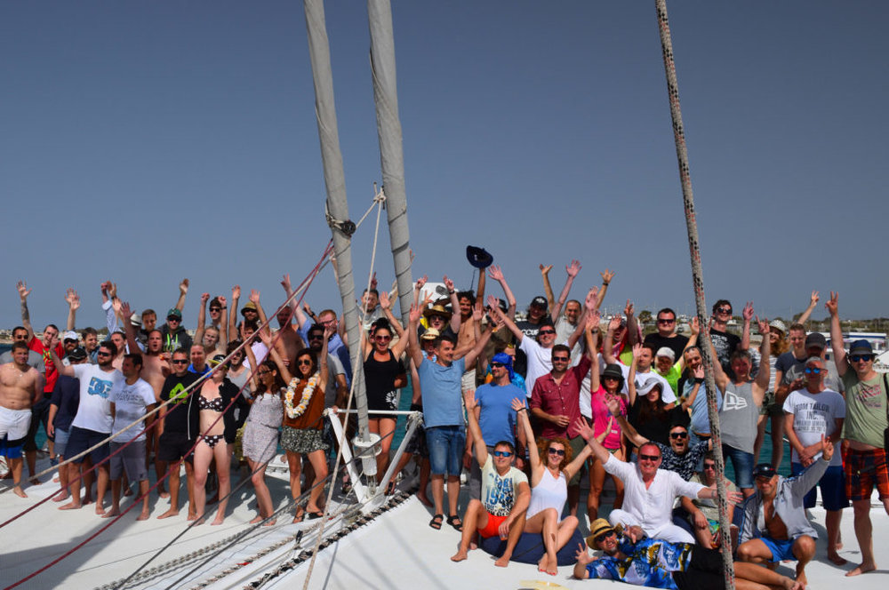 4A Malta Team on a boat enjoying a national holiday.
