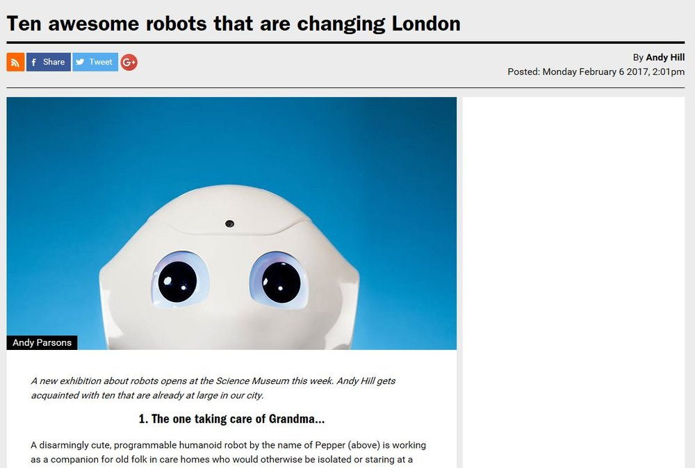 Pepper The Robot In Timeout Magazine - Robots Of London
