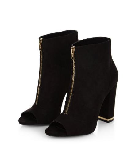 Black Suedette Zip Front Peep Toe Block Heels