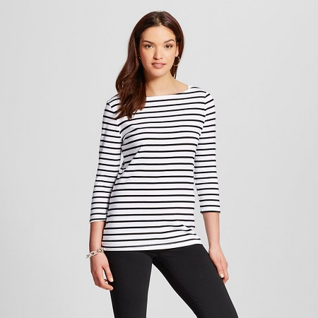 Women's Striped 3/4 Sleeve Boatneck Tee