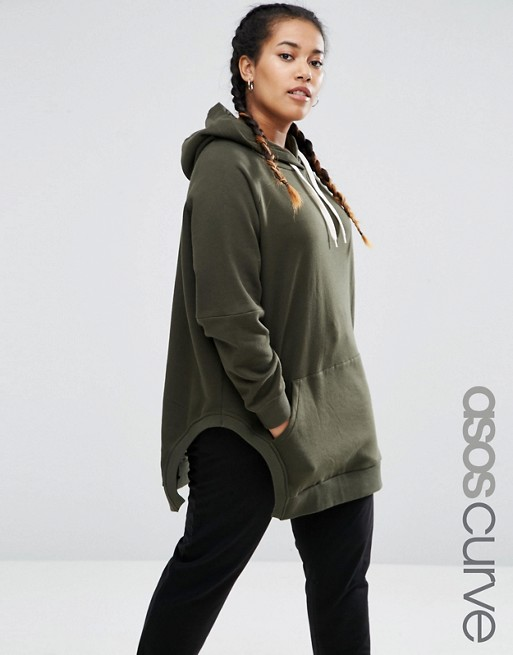 ASOS CURVE Hoodie in Oversized Fit with Side Splits
