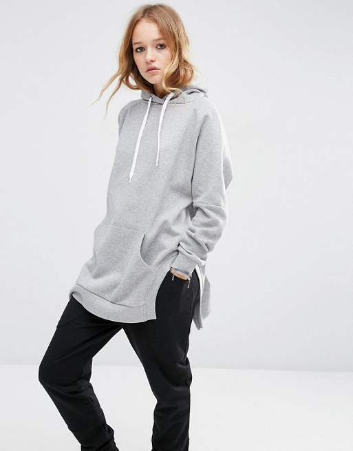 ASOS Hoodie in Longline Oversized Fit with Side Splits