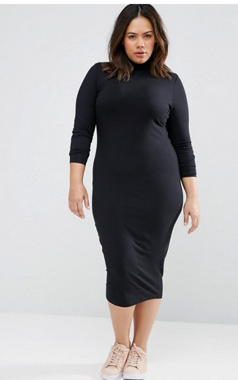 ASOS CURVE Long Sleeve Polo Midi Dress