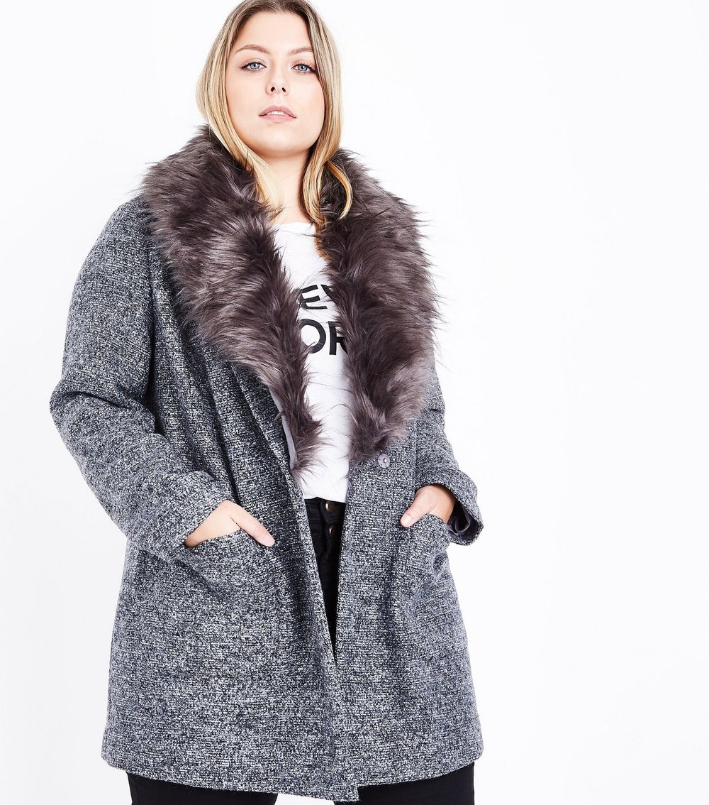 Curves Black Speckled Faux Fur Collar Coat - $62.05
