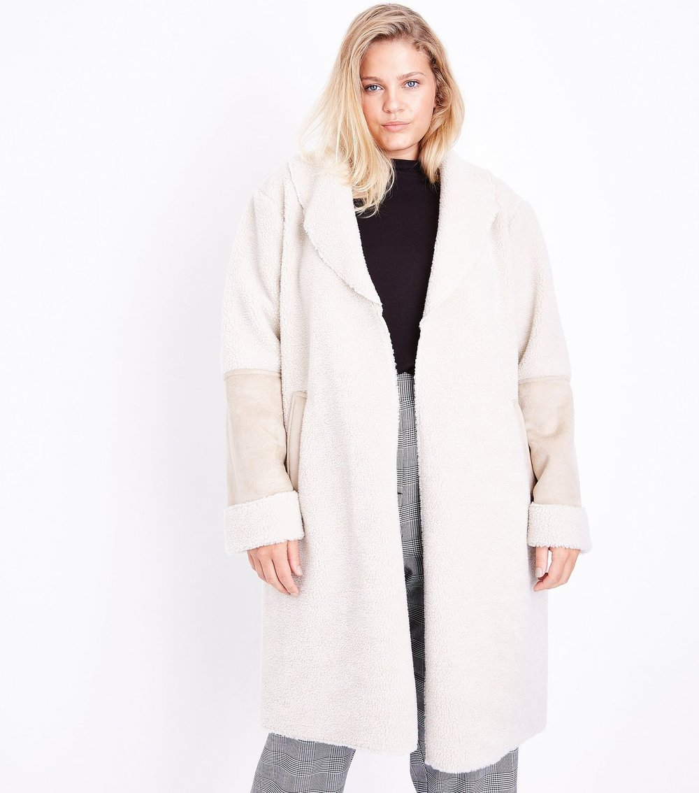 Curves Cream Faux Shearling Longline Coat - $62.07