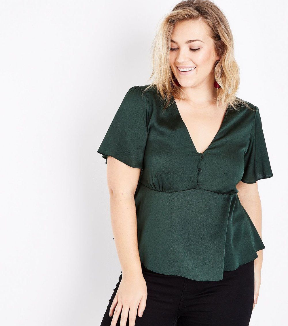 Curves Dark Green Satin Button Front Blouse - $20.38
