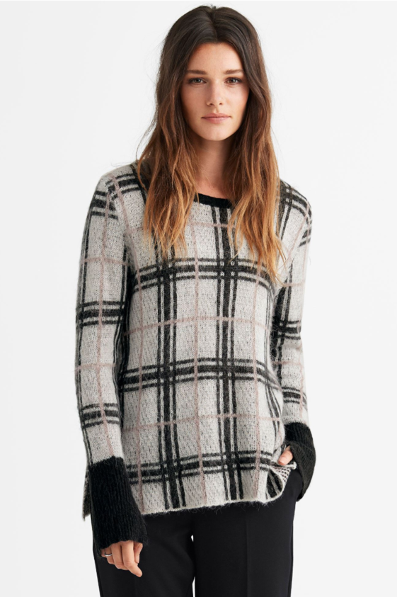 Plaid Boxy Pullover Sweater - $49.90