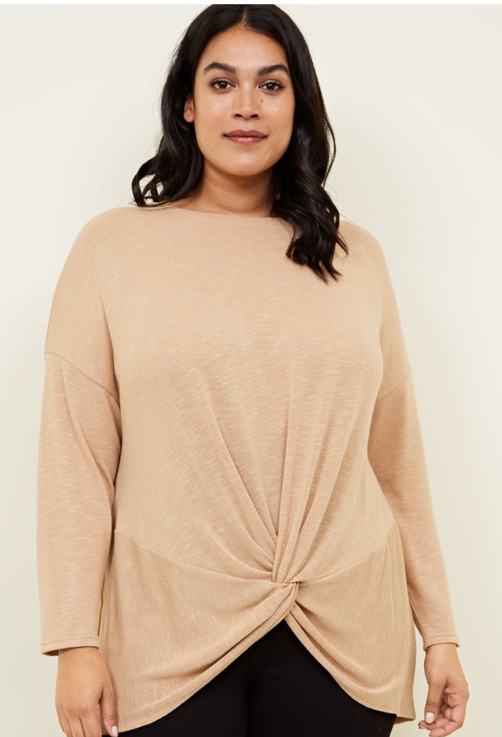 Curves Camel Fine Knit Twist Front Top - £9.74
